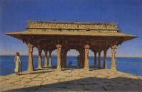 Вечер на озере. Один из павильонов на Мраморной набережной в Раджнагаре.1874