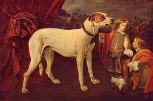 Большая собака, карлик и мальчик (Ян Фейт, 1652 г.)