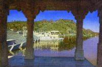Раджнагар. Мраморная, украшенная барельефами набережная на озере в Удайпуре.1874