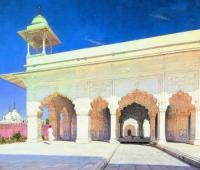 Тронный зал Великих моголов Шах-Джахана и Ауранг-Зеба в форте Дели. 1875