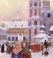 """Картина маслом """"Московский кремль"""" 17-й век"""