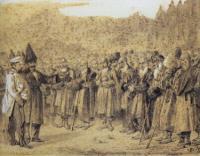 Представление начальству (Русский офицер и кавказцы). 1863-1864