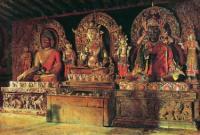 Три главных божества в буддийском монастыре Чингачелинг в Сиккиме. 1875