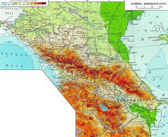 Физическая карта Кавказа