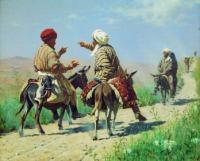Мулла Керим и мулла Рахим по дороге на базар ссорятся.1873