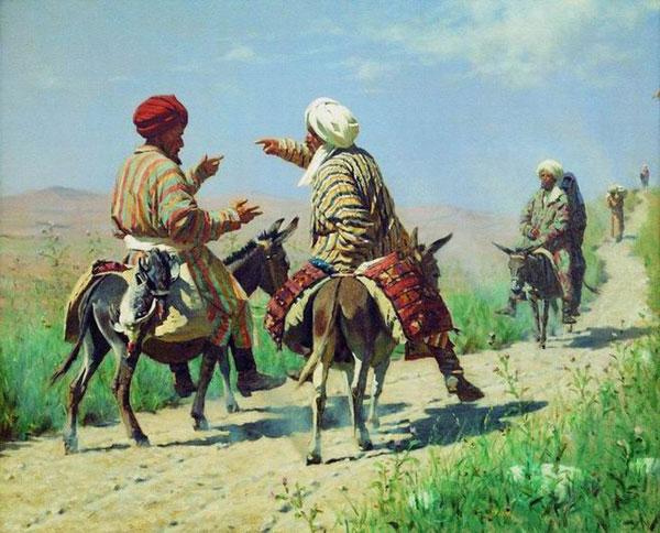Мулла Керим и мулла Рахим по дороге на базар ссорятся