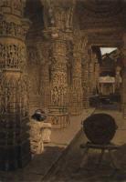 Колоннада в Джайнском храме на горе Абу вечером. 1874-1876